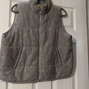2/$10 Gray puffy vest with lace front detail.